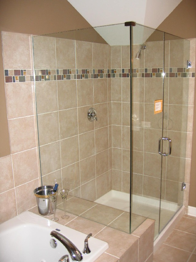 Gl Door Shower Area Without Frame Light Brown Ceramic Tiles Floor And Wall Systems A White