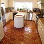 Glossy Brown Tiles Kitchen Flooring Centered  Kitchen Island With Drawers And Wood Top Luxurious Kitchen Set With Modern Appliance