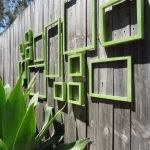 green square-theme decoration for outdoor fences old and shaby look wood planks fence