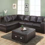 high class look black leather sectional furniture set some pictures as wall ornaments grey fury carpet in medium-size