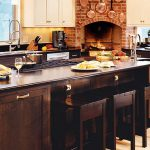 Kitchen Island With Seating And Storage In Rustic Style  Delish Dishes  A Fireplace Mantel With Red Brick Wall System A Rustic Kitchen Set With Modern Kitchen Tools