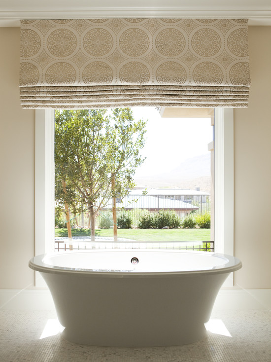Large Roman Shade With Beautiful Pattern And Color Small Deep Tub Fixture White Frame