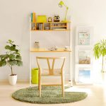 leaning study desk in white and yellow top shelving unit a casual and simple wood chair round green fury carpet a magazine storage two pots with plant ornaments