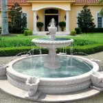 luxurious and cassic water fountain with two-layered pool features for outdoor