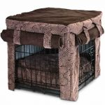 luxurious and cozy crate for dog with bedding