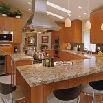 Luxurious Granite Kitchen Island With Seating  Contemporary Kitchen Set With Modern Kitchen Appliances  Casual Pendant Light Fixtures