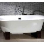 luxurious white bathtub with dark wood clawfoot and stainless steel faucet grey bricks wall system ceramic tiles flooring