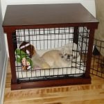 medium-size dog crate with door and wall wires and wood base and top white cozy mattress some decorative items for dog
