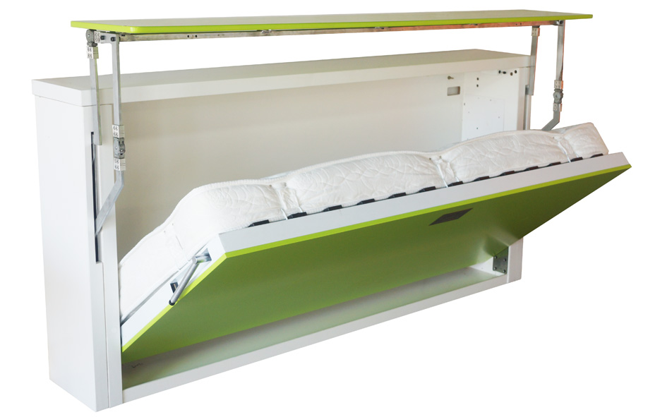medium size folded bed furniture with single shelf on top