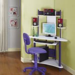 mini and colorful corner desk with under sliding panel for keyboard and lowest panel for CPU  mini monitor set  sweet purple chair with wheels wood-finish flooring