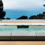 minimalist built-in wide hot tub for outdoor wood floor for outdoor a unit patio chair in white tone  beautiful ocean view
