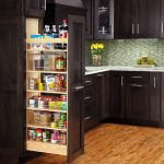 modern cool adorable fantastic nice pull out pantry with black wooden made concept and has nice wooden kitchen room flooring