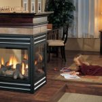 modern cool wonderful nice adorable 3 sided gas fireplace with black wooden frame concept and glass design with compact design