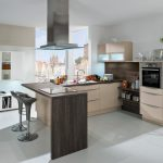 Modern Minimalist Kitchen Set In Light Cream Wood Material A Darkwood Kitchen Island With Two Black Bar Chairs For Couple White Floating Cabinet White Kitchen Buffet For Storage