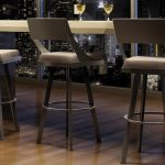 modern minimalist mini bar with light grey barstools with back feature wood-laminate floor idea