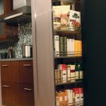 modern nice adorable cool amazing pull out pantry with stainless steel made concept with some leves storage design