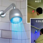 modern nice adorable cool fantastic futuristic cool shower head with control indicator concept hot and cool with red and blue lighting decoration