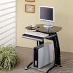 modern slim desk for computer with shiny black top desk