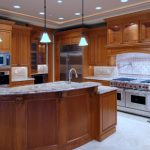 Moern And Classic Cool Amazing Wondeful Kitchen Remodeling With White Marble Look Countertop And Has Wooden Cabinet Design