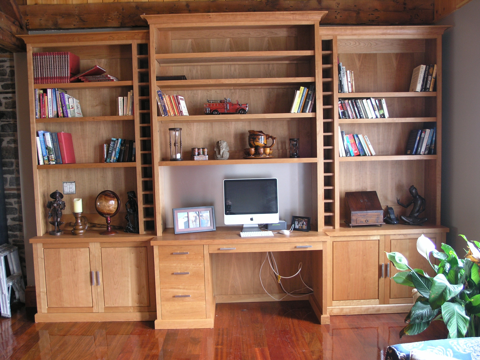 Mudroom Wall Unit With Computer Desk And Under Cabinet Systems Made From Solid Wood Some Books