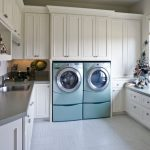 Ncie Cool Adorable Fantastic Awesome Nice Washer And Dryer Cabinet With Blue Washing Machine And White Large Cabinet Design
