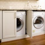 Nice Attractive Cool Wonderful Amazing Fantastic Cool Washer And Dryer Cabinet With Wooden White Concept Design Accent Double Storages 728x485