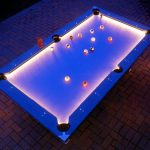 outdoor private pool table with shiny tempered glass top material