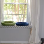 polkadot  pets window perch with two pet beds white window curtains