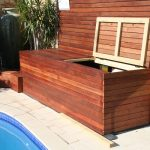 pool equipment house in wood planks material