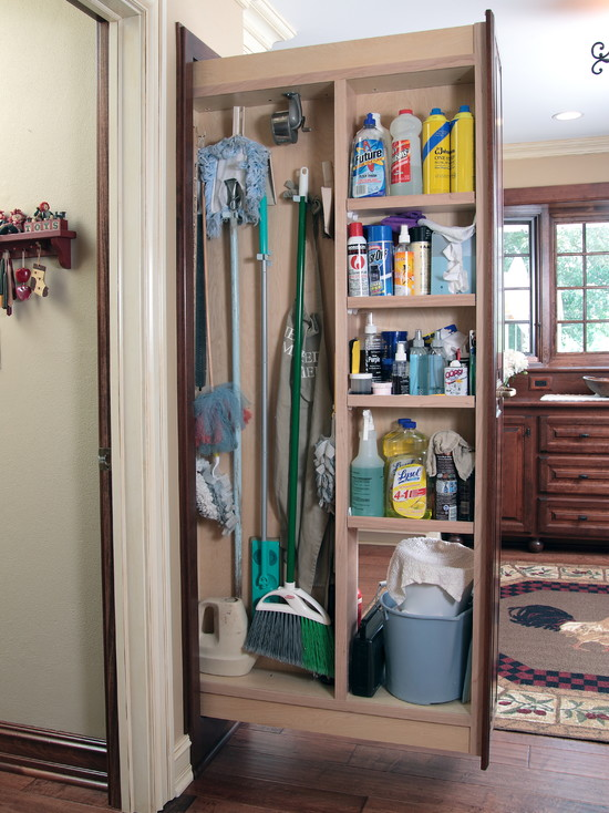 Pull Out Broom Storage With Shelving Units For House Cleaning Supplies