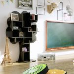 room class with unique black-shaped bookshelf miniature of Eifel chalkboard with wood frame
