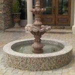 round water feature for outdoor with mosaic tiles wall system blocks flooring for the outdoor area