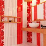 sexy red bathroom with amazing white wash bowl sink and floating vanities with open shelves also frosted glass window in white tile flooring