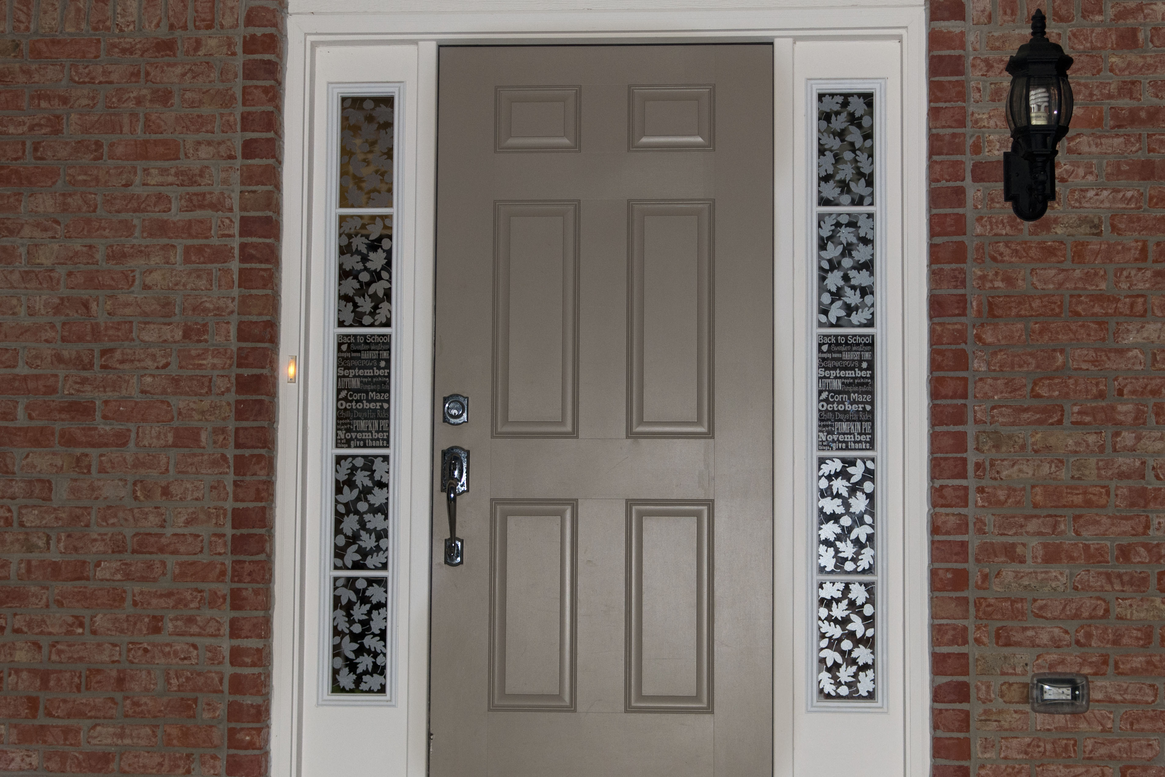 Sidelight Window Film With Fl Patterns Beige Tone Main Door Red Bricks Wall Idea Traditional