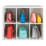 simple white shelfves for handbag storage sweet colored handbags