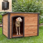 simple wood planks dog house with wide door