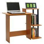 slim wood computer desk with bookshelf a laptop unit two books arrangements