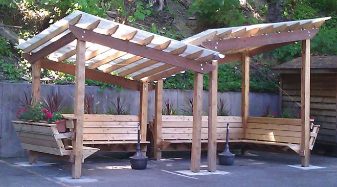 Small Adorable Cretive Clic Traditional Outdoor Pavilion Plan With All Wooden Made Ocncept Design