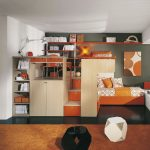 small modular sofa in orange tone long white buffet under glass window an elevated bed with desk and storage