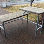 split standing desk plan with wood top panels and metal legs
