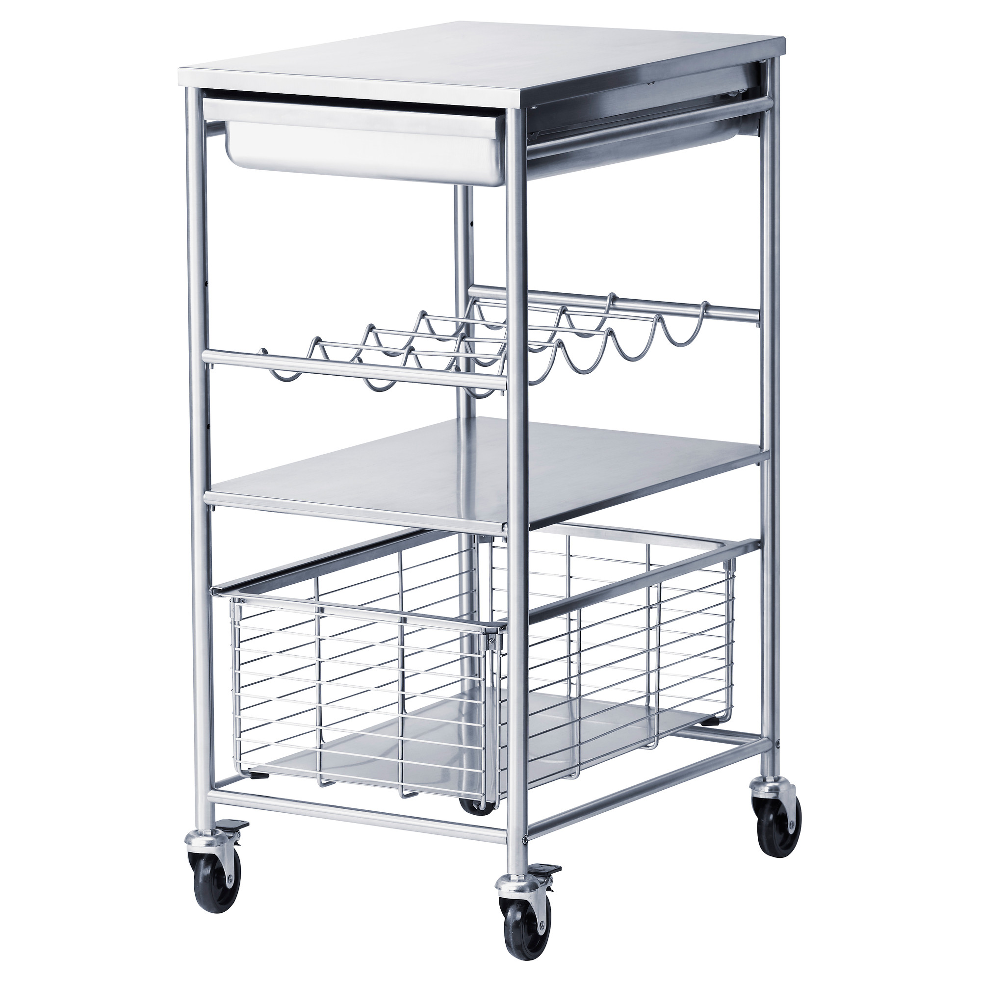 Stainless Steel Microwave Cart With Wheels
