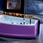 sweet purple bathtub with double taps an abstract  painting in wide-black frame frameless nature picture vivid lavender ornaments in rattan basket fury purple carpet