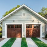 Twin Garage Room Seen From Outside With Craftsman Wood Garage Doors