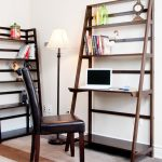 Two Sets Of Ladder Desk For Laptop A Book Arrangement  Brown Leather Chair
