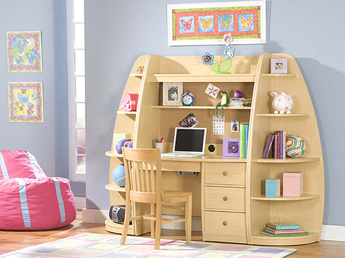 Unique And Creative Wood Shelving Storage With Desk Mini Cute Chair For Kid A Wall Unit