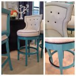 unique and luxurious turquoise bar stool with cozy back and seating features