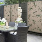 unique prints on outdoor fences classic statue in white a set of patio furniture made from rattan