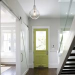 white barn sliding door bottle-shape pendant light fixture light green main entrance
