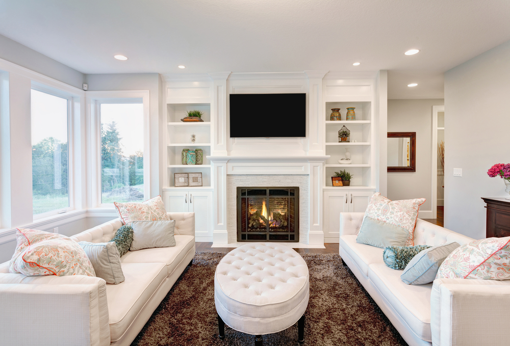 White Built In Shelves And Cabinets With Electric Fireplace Building The Center Small Settee