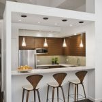 white elegant mini kitchen bar with white barstools simple but elegant pendant lighting fixtures